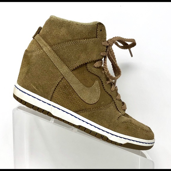 new style 37fea 89b84 Nike Dunk Sky Hi Suede Bamboo Wedge Sneakers